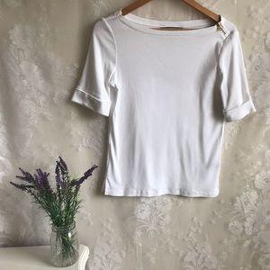 Ralph Lauren White Cotton Cuff Shirt Gold Zipper M